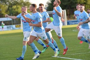 Celebration time for Ballymena United in the Europa League. Pic by Pacemaker.