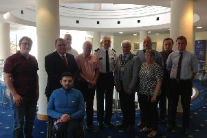 Members of Lisburn and Castlereagh City Council with PSNI District Commander, Superintendent David Beck, at the Island Civic Centre.