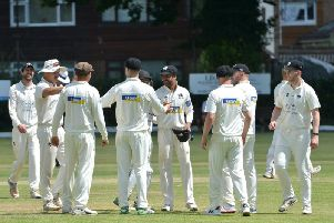 Roffey celebrate a wicket during Saturday's win over Brighton & Hove. All pictures by Peter Cripps
