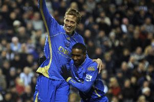 Peter Crouch scoring at West Brom with Jermain Defoe. Picture: Steve Reid