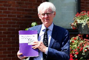 Sir Norman Lamb, MP for North Norfolk and former health minister, at Ferneham Hall in Fareham today having met with relatives of patients at Gosport War Memorial Hospital. Picture: Sarah Standing (160719-4465)