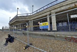 Barriers on the beach around Eastbourne Bandstand whilst maintenance works are undertaken (Photo by Jon Rigby) SUS-190715-114225008