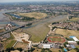 An aerial view of Portsmouth with the Mountbatten Centre in view. Picture: Portsmouth City Council