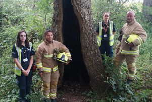 Horsham District Council neighbourhood warden Lucy Hallett, Horsham firefighter Bianca Marques, neighbourhood warden Alison Page and firefighter Quentin Smith with the burnt out tree near the pump track.