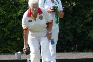 Irene Doone, Lurgan Skip, in action during last week's match against Holywood