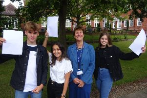 Bradley Burke, Anisha Wakefield, Collyer's principal Sally Bromley and Imogen Sawyer