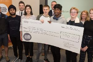 Myton pupils with their cheque for 500 to invest in tackling plastic waste at the school. Photo supplied.