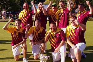 Bears celebrate their first Balcomb Trophy win since 2014 (back from left) Mark Ireland, Martin Timms, Martyn Murley (Team Manager), Adam Smith and Matt Wells. (Front) Mark Smith, Dan Box, Calvin Wells and Tom Millership