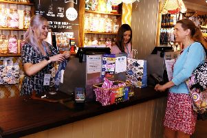 White Stuff Louth - Evangeline Dodds, Shop Manager, Natalie Groves, Deputy Manager along with a White Stuff Customer EMN-190823-114955001
