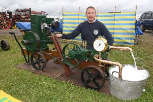 Ian Potts of Boston with his 1944 Lisetr D and Godwin Deep Well Pump. Picture: David Dawson.