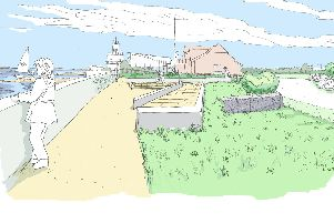 Sketches of what the sea defences off the Eastern Road in Portsmouth could look like north of the sailing club. Picture: Portsmouth City Council