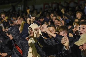Crawley Town fans celebrate against Stoke