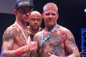 Ben Gumbrell (left) made his bare-knuckle boxing debut against Scotsman Tony Lafferty. All pictures courtesy of Brooklyn Freeman