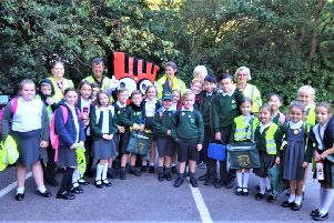 Children at Colgate Primary School are taking part in a new 'park and stride' walk-to-school scheme SUS-190926-145830001