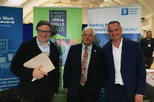 Jeremy Quin MP, councillor Paul Clarke and Horsham Distirct Council's employment adviser Leigh Chambers