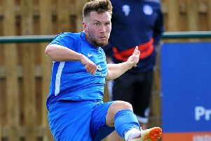 George Cousins netted a hat-trick in Broadbridge Heath's 8-1 thrashing of Mile Oak in the Sussex Senior Cup. Picture by Steve Robards