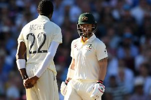 Matthew Wade stares down Jofra Archer during Day Four of the 5th Specsavers Ashes Test . (Photo by Alex Davidson/Getty Images)