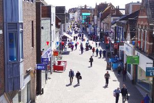 Horsham town centre aerial view of West Street. SUS-160428-141452001