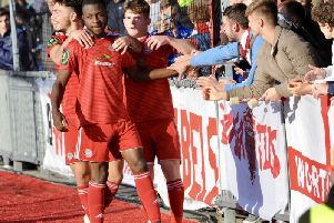 Celebrating Marvin Armstrong's second goal. Worthing v Brightlingsea Regent. Picture by Stephen Goodger