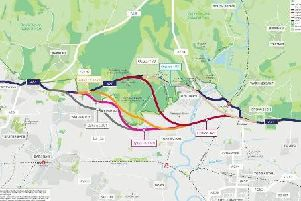 The route options for the Arundel A27 bypass
