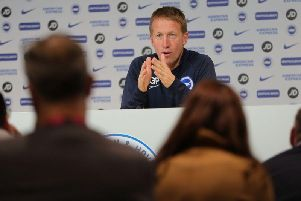 Brighton and Hove manager Graham Potter speaks to the media ahead of their Premier League match against Norwich City. (Picture: Paul Hazlewood BHAFC)