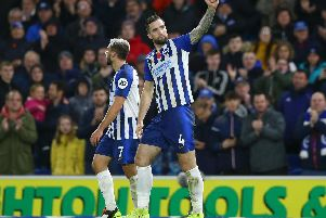 Brighton and Hove Albion defender Shane Duffy celebrates his goal against Norwich City at the Amex Stadium last Saturday