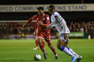 Action from Crawley Town's Carabao Cup defeat against Colchester United. Picture by PW Sporting Photography