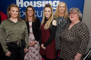Pictured L-R are Peer Mentoring Project Apprentice, Saoirse McEvoy, the Housing Executive's Caroline Connor, Peer mentoring Project Apprentice, Blair Anderson,  the Northern Ireland Youth Forum's Amanda  Stewart and the Department for Communities' Avril Hiles.(Photo - Tom Heaney, nwpresspics)