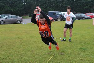 Callum Starkey takes part in NFL Style Combine during the recruitment day in Lurgan