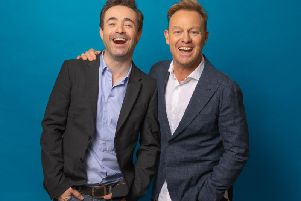 Star of the show Joe McFadden (left) and producer Jason Donovan. Credit Darren Bell