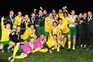 Horsham celebrate their Bostik South East play-off final win over Ashford. Picture by Derek Martin