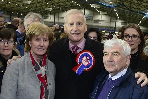 East Londonderry: Gregory Campbell pictured after winning his seat at the count centre in Meadowbank Sports Arena, Magherafelt. 'Picture By: Arthur Allison/Pacemaker Press