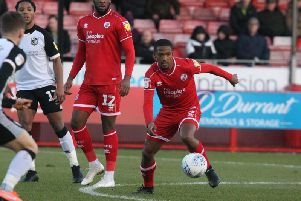 Lewis Young in action against Port Vale