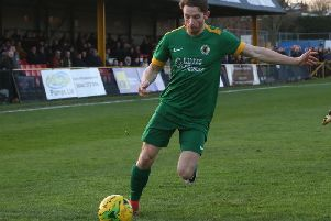 Kieron Pamment, in action at Folkestone Invicta in December, has left the club after finding his first team opportunities limited. Picture by John Lines